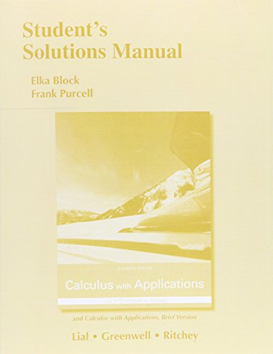 9780133864533: Student's Solutions Manual for Calculus with Applications and Calculus with Applications, Brief Version