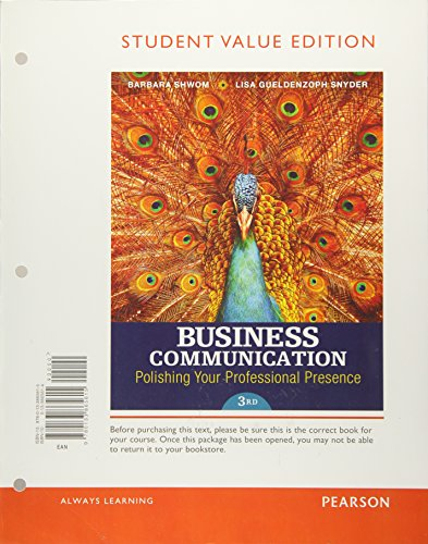 9780133865615: Business Communication: Polishing Your Professional Presence, Student Value Edition (3rd Edition)