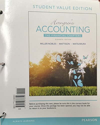 9780133876352: Horngren's Accounting, The Financial Chapters, Student Value Edition (11th Edition)