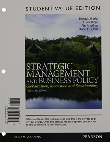 9780133878691: Strategic Management and Business Policy: Globalization, Innovation, and Sustainability, Student Value Edition Plus 2014 MyLab Management with Pearson eText -- Access Card Package (14th Edition)