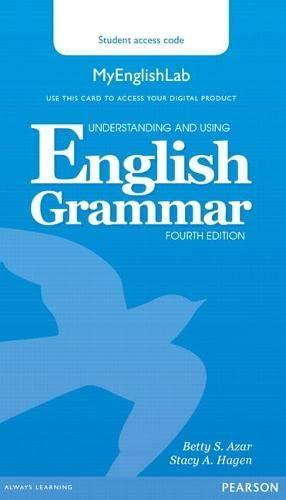 9780133891355: Understanding and Using English Grammar MyLab English (Access Code Card)
