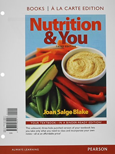 9780133892239: Nutrition & You, Books a la Carte Edition & Modified MasteringNutrition with MyDietAnalysis with Pearson eText -- ValuePack Access Card -- for Nutrition & You Package