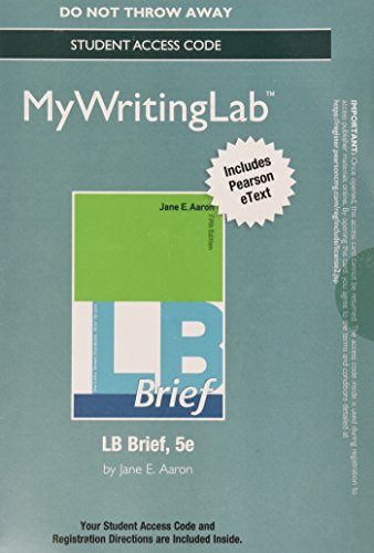 9780133893205: MyWritingLab with Pearson eText - Standalone Access Card - for LB Brief with Tabs (5th Edition)