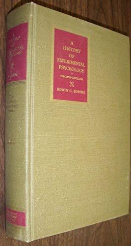 9780133900392: A History of Experimental Psychology.