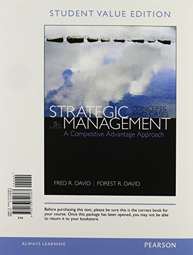9780133908558: Strategic Management: A Competitive Advantage Approach, Concepts & Cases, Student Value Edition Plus 2014 MyManagementLab with Pearson eText -- Access Card Package (15th Edition)
