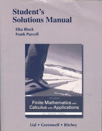 9780133920659: Student's Solutions Manual for Finite Mathematics and Calculus with Applications