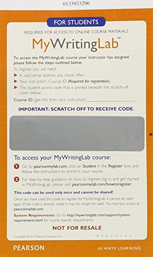 9780133933291: MyWritingLab Generic without Pearson eText -- Glue-In Access Card