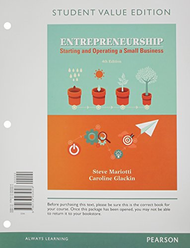 9780133935608: Entrepreneurship: Starting and Operating A Small Business, Student Value Edition (4th Edition)