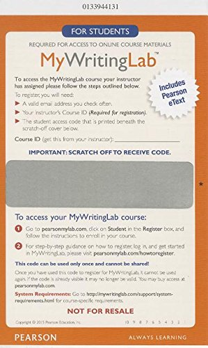 9780133944136: MyWritingLab with Pearson eText -- Glue in Access Card