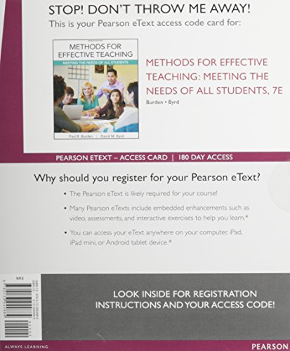 9780133944884: Methods for Effective Teaching: Meeting the Needs of All Students, Enhanced Pearson eText - Access Card (7th Edition)