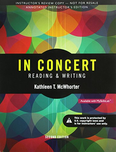 9780133956672: In Concert Reading and Writing (Annotated Instructor Edition)