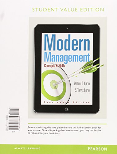 9780133972887: Modern Management: Concepts and Skills, Student Value Edition Plus MyLab Management with Pearson eText -- Access Card Package (14th Edition)