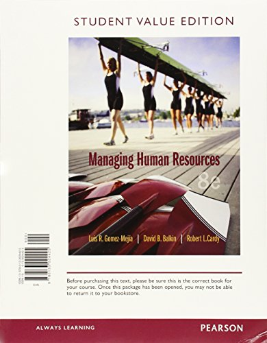 9780133972924: Managing Human Resources, Student Value Edition Plus MyLab Management with Pearson eText -- Access Card Package (8th Edition)