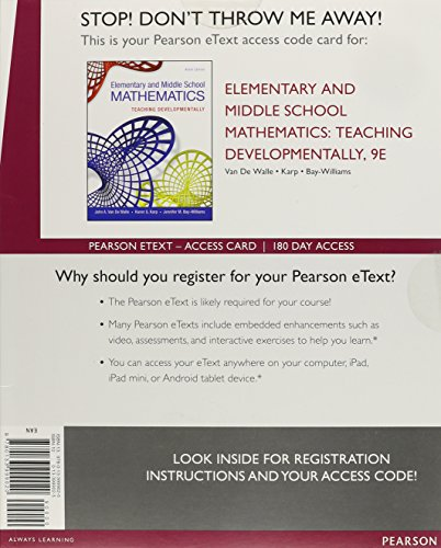 9780133999020: Elementary and Middle School Mathematics: Teaching Developmentally, Enhanced Pearson eText -- Standalone Access Card (9th Edition)