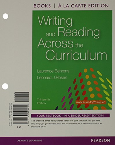 9780133999624: Writing and Reading Across the Curriculum, Books a la Carte Edition