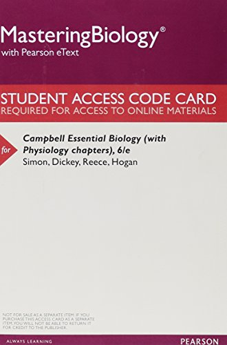 9780134001388: MasteringBiology with Pearson eText -- ValuePack Access Card -- for Campbell Essential Biology (with Physiology chapters)