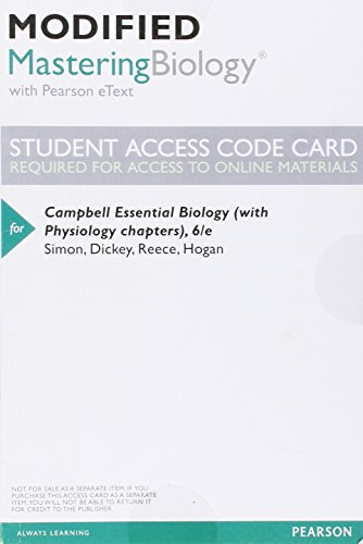 9780134001401: Modified Masteringbiology with Pearson eText - Valuepack Access Card - For Campbell Essential Biology (with Physiology Chapters)