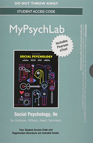 9780134012612: NEW MyLab Psychology with Pearson eText -- Standalone Access Card -- for Social Psychology (9th Edition)