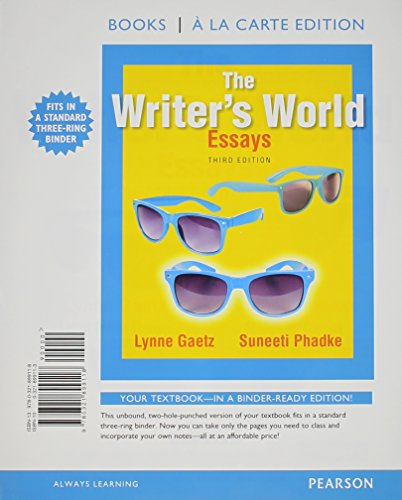 9780134018676: The Writer's World: Essays, Books a la Carte Plus MyLab Writing with Pearson eText -- Access Card Package (3rd Edition)