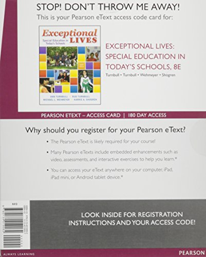 9780134019062: Exceptional Lives: Special Education in Today's Schools, Enhanced Pearson eText -- Access Card (8th Edition)