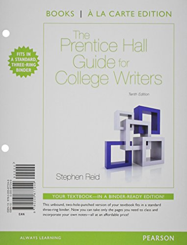 9780134019314: The Prentice Hall Guide for College Writers, Books a la Carte Plus MyLab Writing with eText -- Access Card Package (10th Edition)