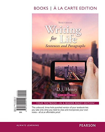 9780134020112: Writing for Life: Sentences and Paragraphs, Books a la Carte Edition (3rd Edition)