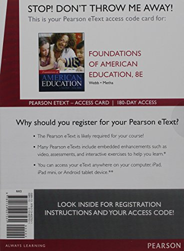 9780134027531: Foundations of American Education, Enhanced Pearson eText -- Access Card (8th Edition)