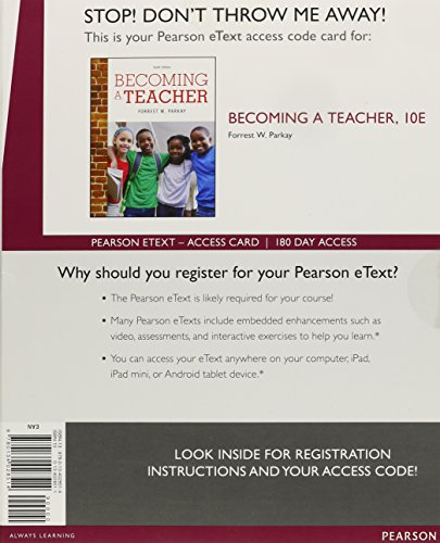 9780134028514: Becoming a Teacher, Enhanced Pearson eText -- Access Card (10th Edition)