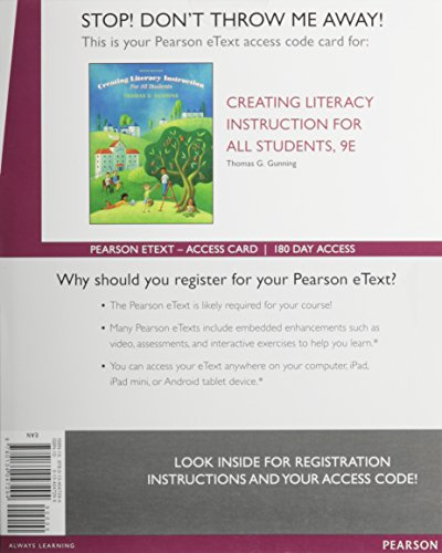 9780134047294: Creating Literacy Instruction for All Students, Enhanced Pearson eText -- Access Card