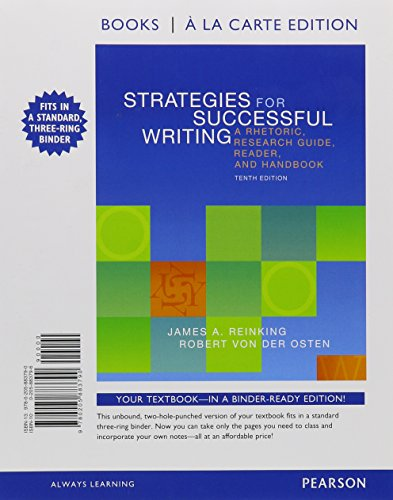 9780134051475: Strategies for Successful Writing: A Rhetoric, Research Guide, Reader, and Handbook, Books a la Carte Plus MyWritingLab with eText -- Access Card Package (10th Edition)