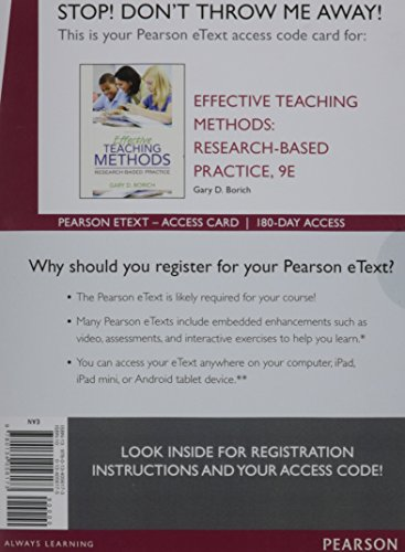9780134056173: Effective Teaching Methods: Research-Based Practice, Enhanced Pearson eText -- Access Card (9th Edition)