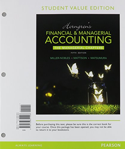 9780134078922: Horngren's Financial & Managerial Accounting, the Managerial Chapters, Student Value Edition Plus Myaccountinglab with Pearson Etext -- Access Card Pa