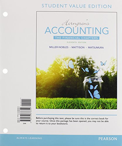 9780134078960: Horngren's Accounting, The Financial Chapters, Student Value Edition Plus MyLab Accounting with Pearson eText -- Access Card Package (11th Edition)