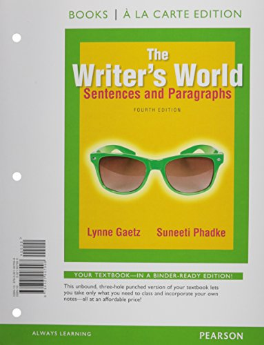 9780134085678: The Writer's World: Sentences and Paragraphs, Books a la Carte Plus MyWritingLab with Pearson eText -- Access Card Package (4th Edition)