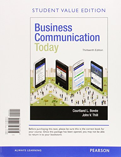9780134088877: Business Communication Today, Student Value Edition Plus MyBCommLab with Pearson eText -- Access Card Package (13th Edition)