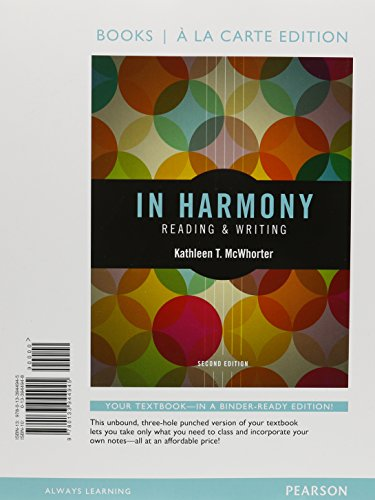 9780134094021: In Harmony: Reading and Writing, Books a la Carte Plus Myskillslab with Pearson Etext