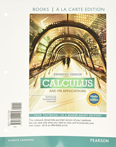 9780134111469: Calculus and Its Applications Expanded Version Media Update Books a la Carte Edition