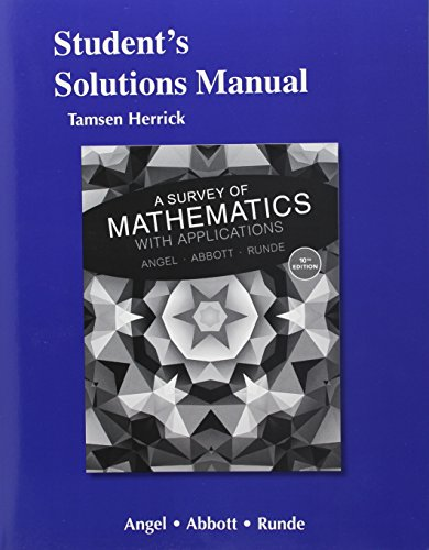 9780134112206: Student's Solutions Manual for A Survey of Mathematics with Applications