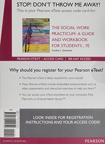 9780134115344: The Social Work Practicum: A Guide and Workbook for Students, Enhanced Pearson eText -- Access Card (7th Edition)