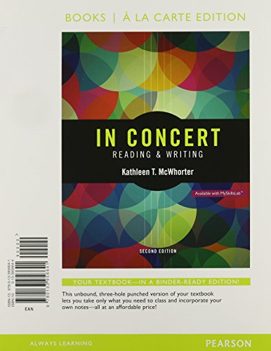 In Concert: An Integrated Approach to Reading and Writing, Books a la Carte Plus Myskillslab with ...