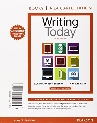 9780134128887: Writing Today, Books a la Carte Edition Plus MyWritingLab with Pearson eText -- Access Card Package (3rd Edition)
