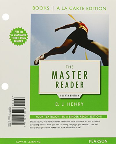 9780134128948: The Master Reader, Books a la Carte Edition Plus MyReadingLab with eText - Access Card Package (4th Edition)