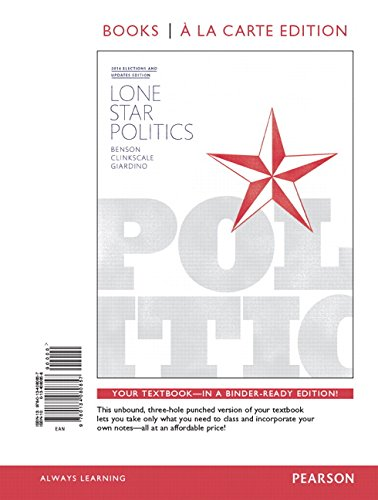 9780134149202: Lone Star Politics, Books a la Carte Edition Plus REVEL -- Access Card Package (2nd Edition)