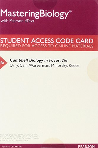 9780134156385: MasteringBiology with Pearson eText -- ValuePack Access Card -- for Campbell Biology in Focus