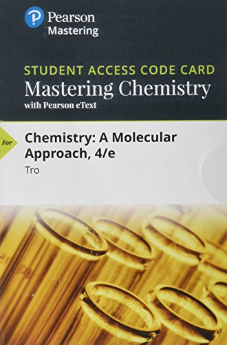 9780134162485: MasteringChemistry with Pearson eText -- Standalone Access Card -- for Chemistry: A Molecular Approach (4th Edition)