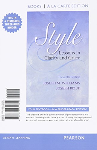 9780134171081: Style: Lessons in Clarity and Grace, Books a la Carte Edition