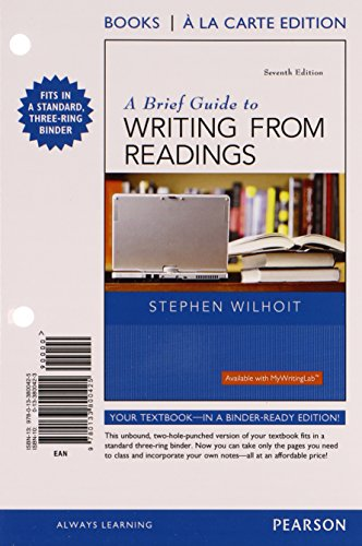 9780134173177: A Brief Guide to Writing from Readings, Books a la Carte Edition Plus MyWritingLab with Pearson eText - Access Card Package (7th Edition)