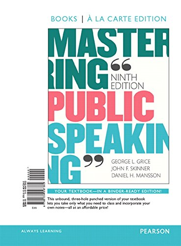 9780134174068: Mastering Public Speaking, Books a la Carte Edition Plus REVEL - Access Card Package (9th Edition)