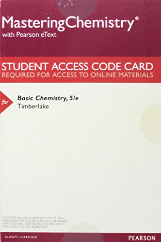 9780134177137: MasteringChemistry with Pearson eText - Valuepack Access Card - For Basic Chemistry