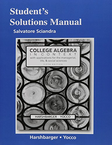 9780134180069: Student's Solutions Manual for College Algebra in Context